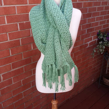 Crochet Scarf/ Chunky Crochet Scarf/ Oversized Scarf/ Winter Scarf/ Fall Scarf/ Mint Green Scarf