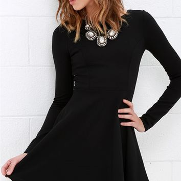 Black Back Zipper Fit And Flare Dress