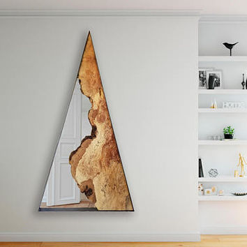 RALLIE - Large Triangle Wall Mirror and Wood Art - Modern - Minimalistic - Geometric