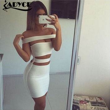 2016 women white black olive colourful off shoulder cut out  bandage dress sexy women dress Khloe Kardashian dress dropshipping