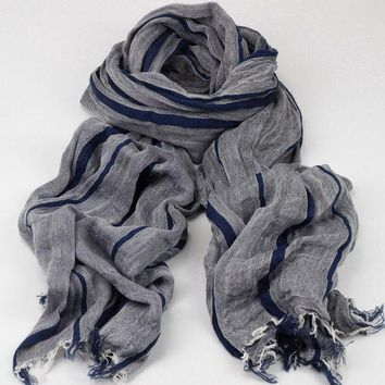 DCCKWJ7 Fashion Brand Winter Cotton Long Striped Blue Warm Scarves For Lady Bufanda Escocesa Plaid Woven Wrinkled Cotton Scarf Men