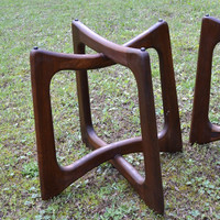 Mid Century Danish Modern Adrian Pearsall Ribbon Side End Table Set of 2 Wood PanchosPorch