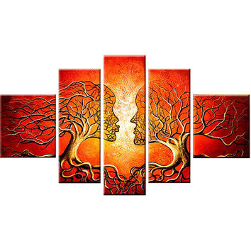Red Human Tree Connection Landscape Canvas Wall Art Oil Painting