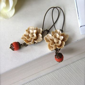 Light Brown, Almond Sakura, Coral Orange Swarovski Pearls Long Flower Earrings. Christmas Gift. For Sister. Bridesmaids Gifts. Fall Inspired