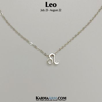 LEO | Zodiac | Astrology Collection: 18K White Gold PL | Birth Sign Necklace