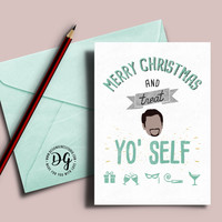 Treat Yo Self Parks and Rec Christmas card