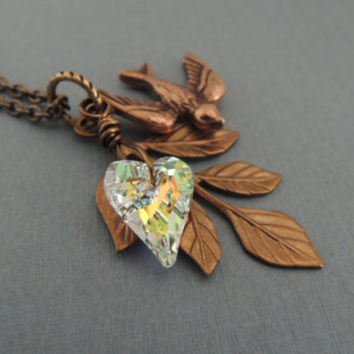 Woodland Style Crystal Heart Pendant Leaf Necklace Swarovski Heart Necklace Bird Swallow Necklace Nature Charms Necklace Wedding Jewelry