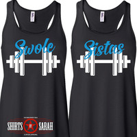 Women's Best Friends Swole Sistas Workout Tanks - Tank Tops Working Out Lift Gym Besties