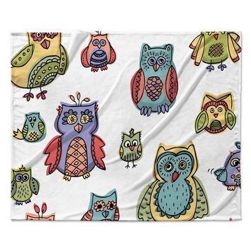 "Brienne Jepkema ""Owls"" Fleece Throw Blanket"