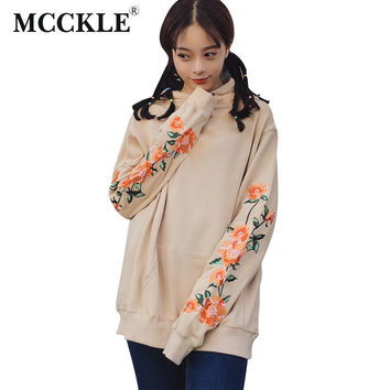MCCKLE  Autumn Women Long Hooded Sweatshirt Embroidery Flower Long Sleeve Loose Big Pocket Female Pullover Drawstring Hoodies