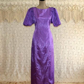 Vintage 70s Formal Dress Long Purple Dress Small Moire Satin Puff Sleeves Rhinestones Prom Dress 1970s Vintage Clothing Womens Clothing