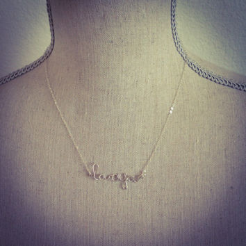 Silver LOVE necklace/ cursive handmade necklace/ handmade name necklace/ silver jewelry