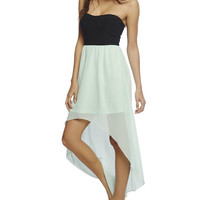 2fer Knit Chiffon High Low Dress | Wet Seal