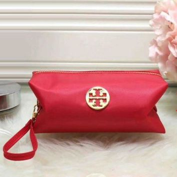Tory Burch Women Trending Fashion Contracted Leather Zipper Wallet Purse Red G