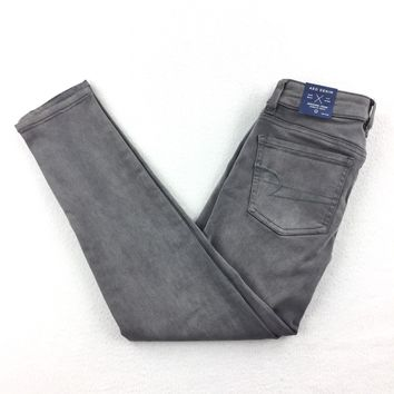 American Eagle Outfitters Jegging Crop Stretch Jeans Women's Gray Sz 0 NWT 43-06