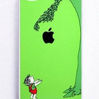 iPhone 4  case and iPhone 4s Case  iphone 4 Cover the GREEN tree with an apple,Iphone 4s cover plastic case