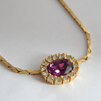 Henkel and Grosse Designer Necklace  - 1980s Jewelry - Designer Jewelry - Dior Jewelry - Purple Jewelry - Purple Stone Necklace