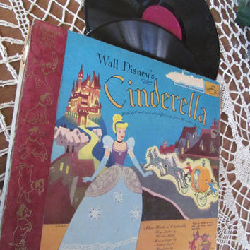 Cinderella 1940s Baby Boomer Old Toys Double Album and Book Vinyl Record Plus Storybook Vintage 78 Walt Disneys Old school Hip Hop