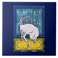 Cute white cat with mouse friend tile