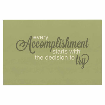 "NL designs ""Accomplishment Green"" Olive Typography Decorative Door Mat"