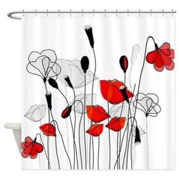 Whimsical Red Poppies Shower Curtain> Decorator Shower Curtains> MORE PRODUCTS-CLICK HERE-GetYerGoat.com