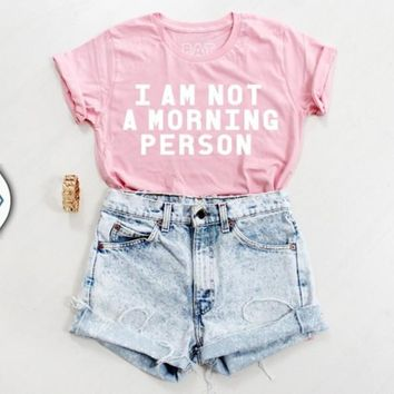 Round Neck Pink Letters Short-Sleeved Shirt