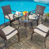 Mainstays Wicker 5-Piece Patio Dining Set, Seats 4 - Walmart.com