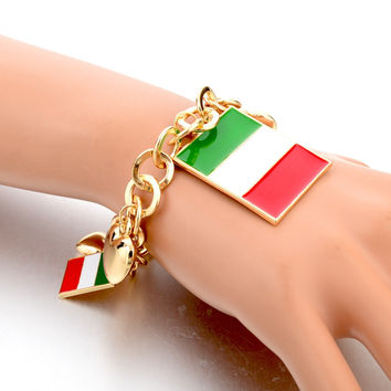 Italy/US/UK Country Flag Bracelets With Heart Pendants