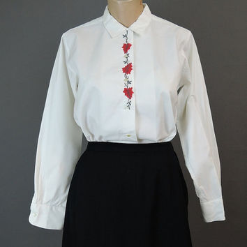 Vintage 1960s White Cotton Blouse with Red Embroidery - Bobbie Brooks - fits 36 inch bust