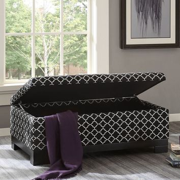 Madison Park Austin Ottoman (Black White)
