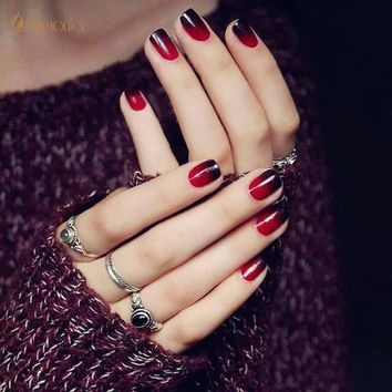 24Pcs/Set Sexy Red Black False Nails Sticker Tips Pre Design Faux Ongles Free Glue Artificial Square Fake Nail Tips for Party