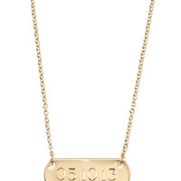 Signature Engravable Bar Necklace - Gold