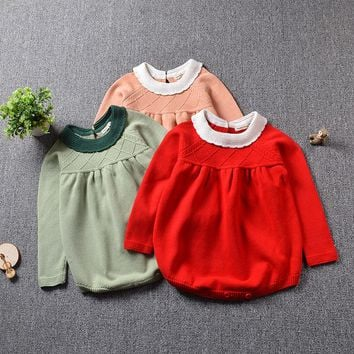 2017 Baby Knitted Rompers Girls Jumpsuit roupas de bebe Wool baby romper Overalls infant toddler clothes Girl Clothing 12m-5y