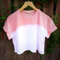 Just Peachy Dip Dyed Cropped Tee - Womens Hand Dyed Organic Ombre Top - High Summer Fashion T-shirt - Natural Dye