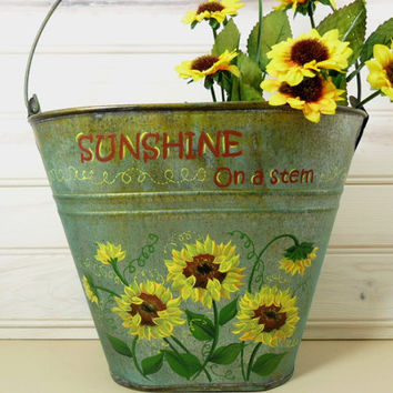 Tin Bucket Hand Painted Sunflowers Rusty Green Galvanized Oval