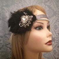 1920s style Black Silver Heart Pearl Rhinestone Art Deco Flapper Gatsby Ostrich Feather Headband Wrap Head Piece 1920s 20s 1920's headpiece