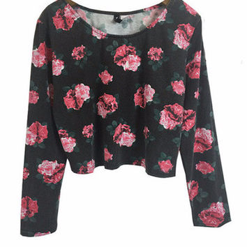 Black Roses Print Long Sleeves Cropped Top