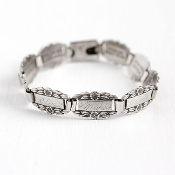 Forget Me Not Bracelet - Vintage Sterling Bracelet 1940s WWII Flower Etched Name Panel - Monogrammed Friendship Memory Link Floral Jewelry
