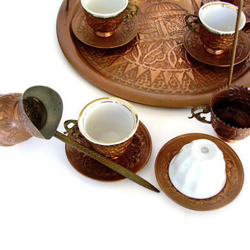 Vintage Turkish Coffee Ottoman Set Istanbul Copper Espresso Cups & Tray 1960s Mid century Ibrik