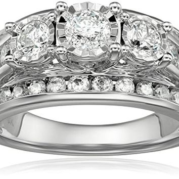 CERTIFIED 2cttw 10k White Gold 3-Stone Miracle Diamond Wedding Ring Set