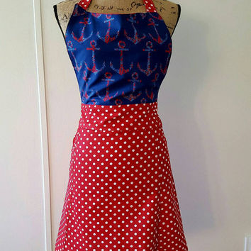 Nautical - anchors  - polka  - dot -  pinup-rockabilly-  50's housewife - style apron