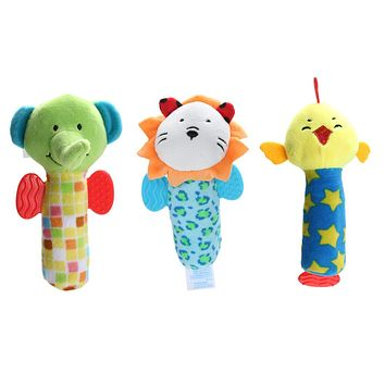 Soft Baby Kids Toys Ring Bell Baby Plush Rattles Squeaker Early Educational Dolls Rod Cute Cartoon Animal Musical Plush Toy