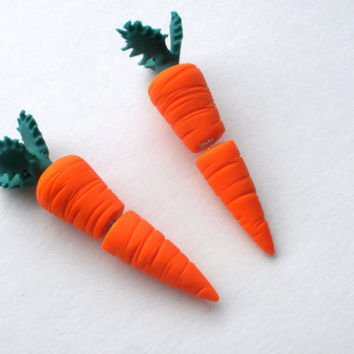 Carrot Fake Gauge Earring Garden Vegetable  Farm by deceptions