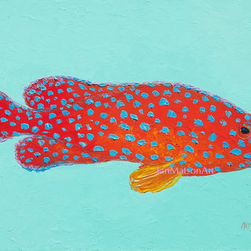 Fish painting, canvas art, strawberry grouper fish, beach house decor, beach painting, coastal decor, bathroom art, ocean painting, Etsy Art
