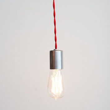 Solid Steel Pendant w/Single Edison Bulb