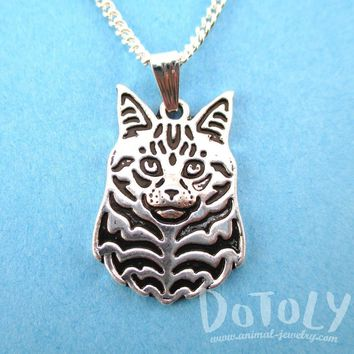Norwegian Forest Cat Face Shaped Pendant Necklace in Silver | Animal Jewelry