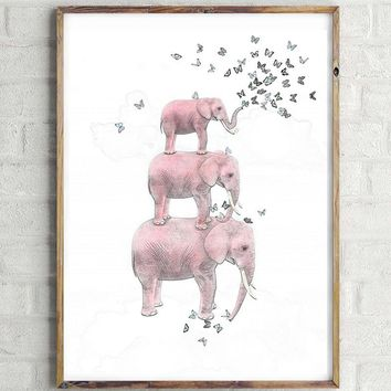 Elephant Canvas Art Print Poster, Wall Picture -  No Frame