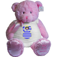 Greek Flag Angel Black Hair Pink My First Teddy Gund | Flags of Nations or Flagnation