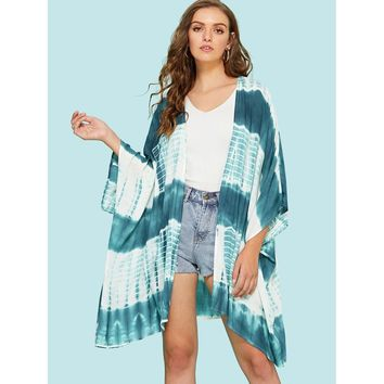 Tie Dye Print Three Quarter Length Sleeve Kimono