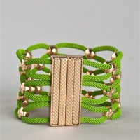 XX Gold Studded Bracelet - BR008 - Green | Shop Accessories
